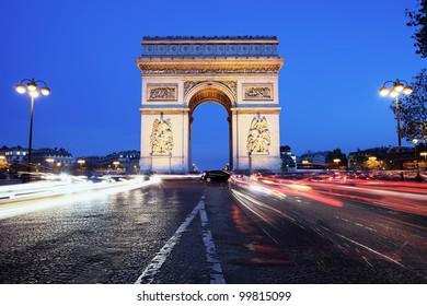 Paris, Arc de Triomphe by night