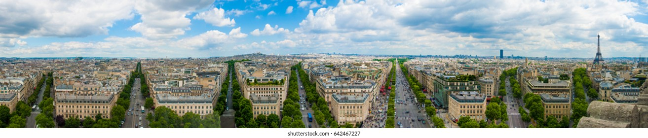 Paris from Arc de Triomphe with Eiffel Tower