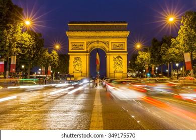 Paris Arc de Triomphe at night, France