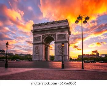 Paris, arc de Triomphe at sunset.