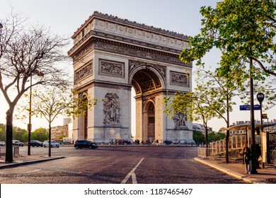 Paris Arc de Triomphe (Triumphal Arch), place Charles de Gaulle in Chaps Elysees at sunset, Paris, France. Architecture and landmark of Paris. Sunset Paris cityscape
