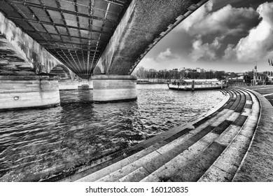Paris. Architecture of Iena Bridge near Eiffel Tower.