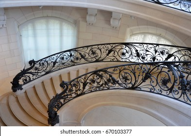 PARIS - AUG 13:  Staircase in the Petit Palais in Paris, France is shown on August 13, 2016. The art museum was built for the 1900 World Fair.