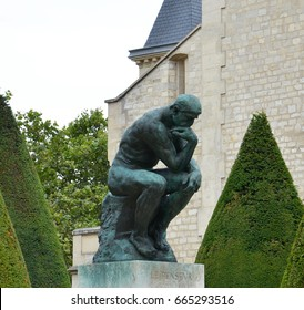 PARIS - AUG 3:  The Thinker at the Musee Rodin in Paris, France, is shown here on August 3, 2016. The Thinker was originally named The Poet.