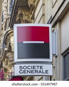 PARIS - AUG 6: Societe Generale branch on August 6, 2016 in Paris, France. Societe Generale is the 13th largest bank in Europe