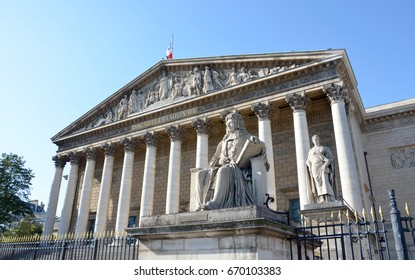 PARIS - AUG 9:  The Palais Bourbon in Paris, France is shown on August 9, 2016.  It houses the National Assembly, the lower legislative chamber of the French government.