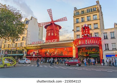 PARIS - August 16, 2014: Moulin Rouge is a famous cabaret in Paris, built in 1889 and located in the red light district of Pigalle.