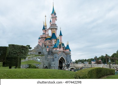 Paris, August 2016: Sleeping Beauty Castle in Disney Land Paris