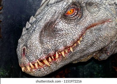 Paris - August 7, 2018: Indominus rex, dinosaur created of the DNA of T-rex, raptor etc, Jurassic World thematic exhibition in France