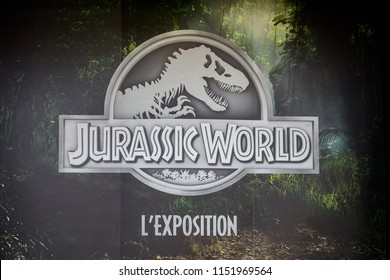 Paris - August 7, 2018: Poster Jurassic World thematic exhibition in France