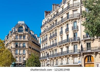 Paris, beautiful building boulevard des Batignolles, typical parisian facade