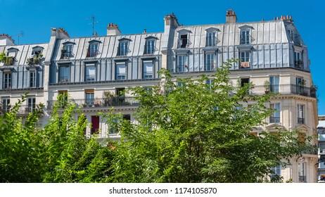 Paris, beautiful building boulevard Voltaire, typical parisian facade
