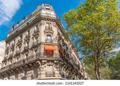 Paris, beautiful building in the center, typical parisian facade boulevard Voltaire