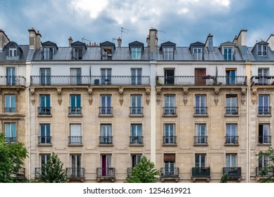 Paris, beautiful building in the center, typical parisian facade boulevard Voltaire