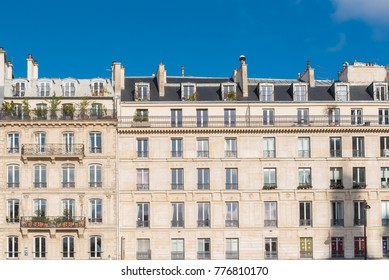 Paris, beautiful building facade in a attractive area of the capital, in the Marais