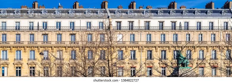 Paris, beautiful buildings in the center, typical parisian facades boulevard de Villiers