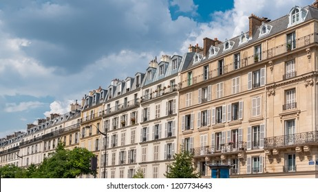 Paris, beautiful buildings near Republique, boulevard Voltaire