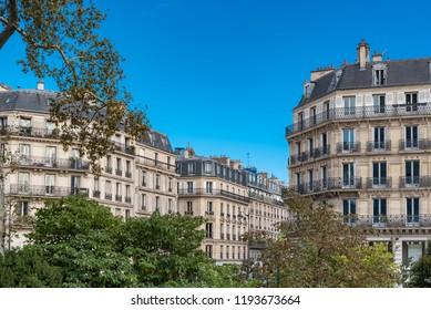 Paris, beautiful buildings, typical parisian facades in the Marais