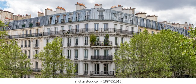 Paris, beautiful buildings, view from the coulee verte Rene-dumont in the 12th district, footpath