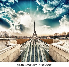 Paris. Beautiful Eiffel Tower landmark, view at sunset from Trocadero area.