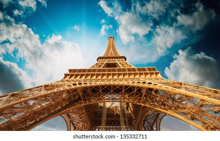Paris. Beautiful view of Magnificent Eiffel Tower