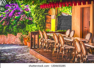 paris bistro restaurant in spring outdoor background .