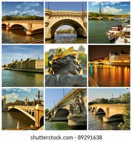 Paris. Bridges over the river Seine. France.