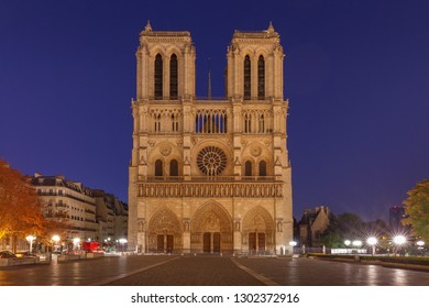 Paris. The building of the Cathedral of Notre Dame.