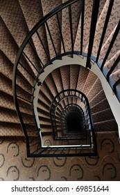 Paris building interior, spiral stairwell