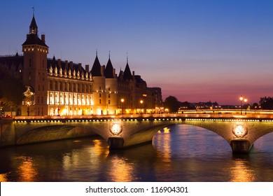 Paris by night, Seine River Bridge