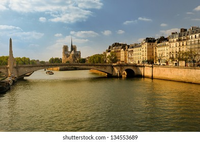 Paris. Capitol of France. Notre Dame cathedral and river Seine
