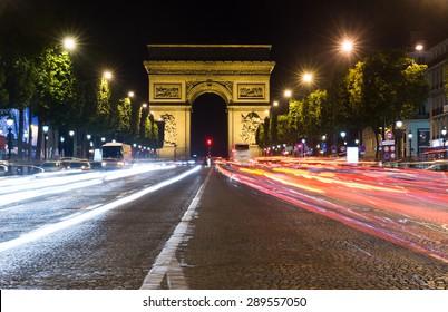 Paris, Champs-Elysees at night