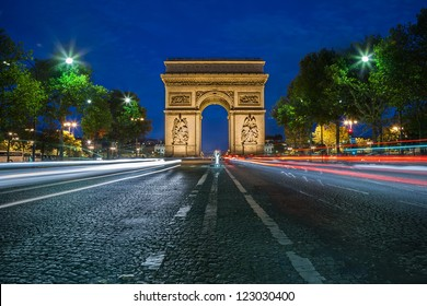 PARIS - CIRCA AUGUST 2012: Arc de Triomphe circa Aug. 2012 in Paris. The Arc de Triomphe is one of the most famous monuments in Paris. It stands in the centre of the Place Charles de Gaulle.