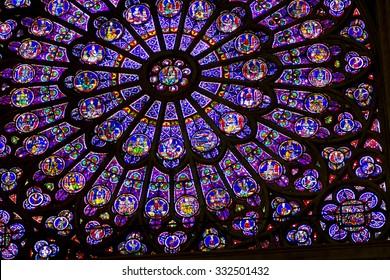 PARIS - CIRCA MAY 2011: South Rose Window of Notre Dame de Paris