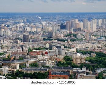 Paris city aerial panoramic bird eye view . France.