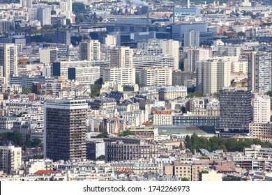 Paris city aerial view with Olympiades and Quartier chinois districts of 13th arrondissement (13e arrondissement). Bedroom districts.