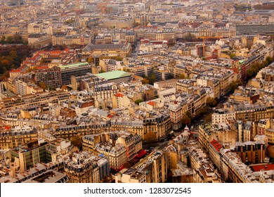Paris city arial view from top of Monparnasse tower. View from Montparnasse tower to Montmartre & Basilica, Louvre, Saint-Sulpice Church. View old Paris architecture streets Paris France 5/9/2018