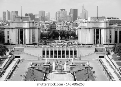 Paris city, France - aerial city view with Trocadero and La Defense in the background. Vintage style black and white.