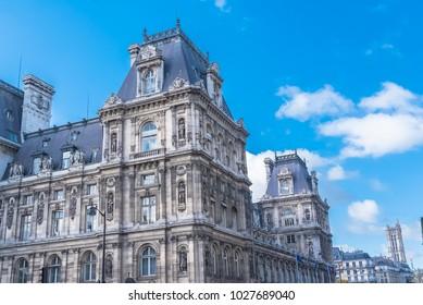 Paris, the city hall, place de l'Hotel de Ville, beautiful parisian monument, with the Saint-Jacques tower in background