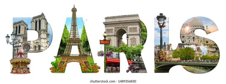Paris city landmarks. Word illustration of most famous Paris monuments and places. - Shutterstock ID 1489356830