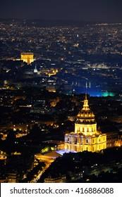 Paris city at night rooftop view