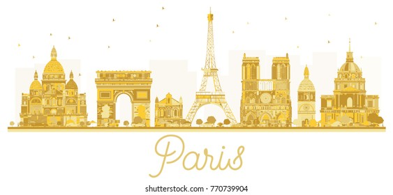 Paris City skyline golden silhouette. Business travel concept. Paris isolated on white background.