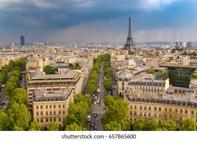 Paris city skyline view from Arc de Triomphe with Eiffel Tower, Paris, France