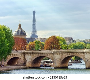 Paris city view of Eiffel Tower and Seine river