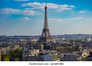 The Paris City View and Eiffel Tower in Cloudy and Blue Sky Day, Paris, France.