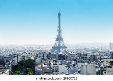 Paris cityscape with Eiffel Tower in center clear sky