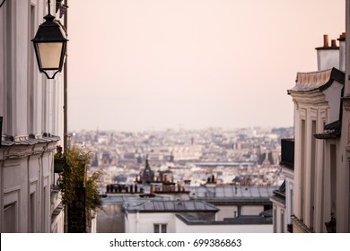 Paris cityscape view, roofs and lamp seen from Monmartre street