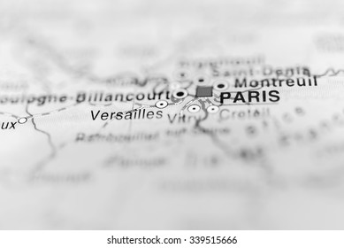 Paris close up on map. Shallow depth of field.
