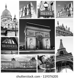 Paris collage in black and white