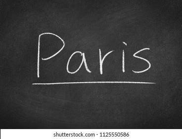 Paris concept word on a blackboard background